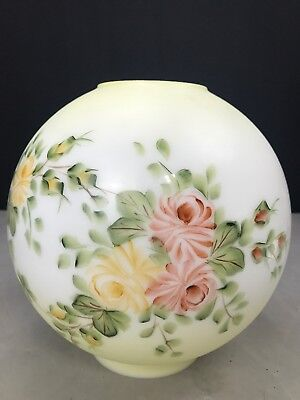 """Gone with the Wind Globe Shade Oil Lamp Hand Painted Roses 4"""" Fitter GWTW"""