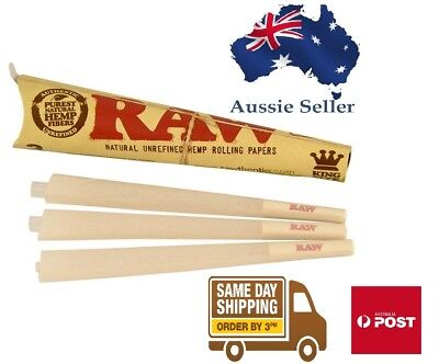 Raw Classic Pre-Rolled King Size Natural Unrefined Rolling Paper Cone(3 Inside)