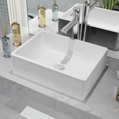 vidaXL Bathroom Basin Rectangular Ceramic White Above Counter Vessel Sink