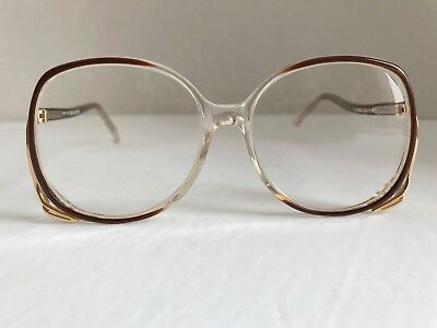 Vintage 1980s Glasses Women Big Eye Frames Rx Plastic Metal Brown Gold