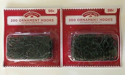 400 (2 Packs) Christmas Ornament Hooks Tree Hangers Metal Wire Small-Green New