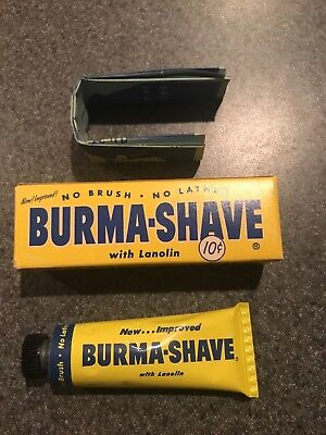 Burma Shave Tin Tube of Shave Cream NOS Full box directions 1954