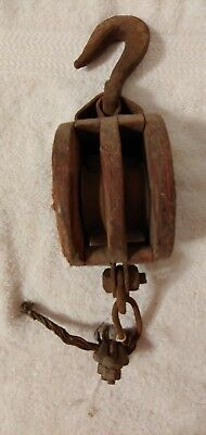 Vintage double wheel wooden HEAVY DUTY Cast Iron Antique Primitive BARN PULLEY