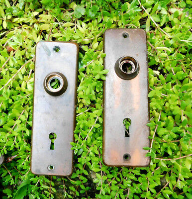 Pair Of Antique Vintage Door Knob Plates Escutcheons With Skeleton Key Hole