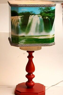 RARE Huge Vintage Niagara Falls Motion Lamp/Shade ~ Very Retro ~ Rotating Lamp