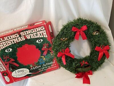 Vintage Animated Talking Singing Christmas Tree Door Wreath Mouth Move Song