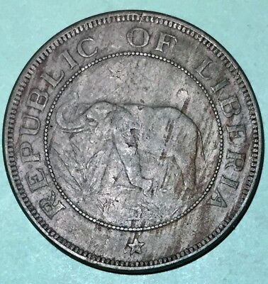 1941 Liberia Two 2 Cents Elephant Coin