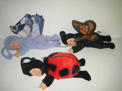 "Lot of 3 Anne Geddes Stuffed Sleeping 9"" Baby Dolls Butterflies & Lady Bug"