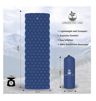 Premium Ultralight Sleeping Pad Inflatable Compact Mat For Camping Hiking & Back
