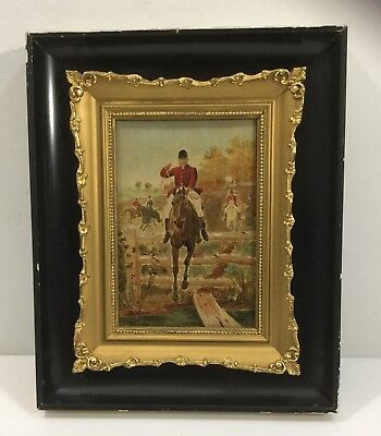 Antique American Equestrian Horse Fox Hunting Oil Painting Org Gilt Frame