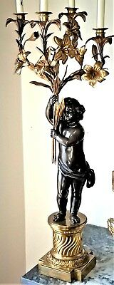 Candelabra, 4arm, France, Napoleon III, bronze, cherub, patinated,gilt,c1860,38""