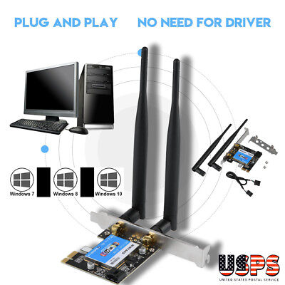 2.4G/5G Bluetooth 433Mbps Dual Band PCIE Express Network Card Wlan WiFi Adapter