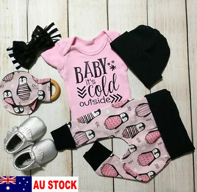 AU Infant Newborn Baby Girls Romper Tops Pants Clothes 3Pcs Outfit Set Playsuit