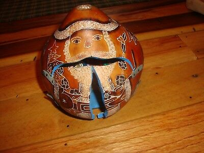 Unique Hand Made Hand Painted Small Santa Gourd Inside Little Nativity Figures