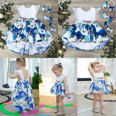 Christmas Baby Girl Toddler Kids Lace Romper Tutu Dress Party Dresses Costume AU