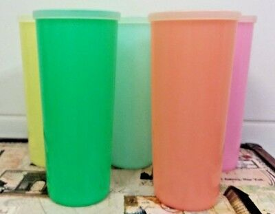 Vintage Tupperware 60s Rainbow coloured Drinking Tumblers / Cups x 5 with Lids