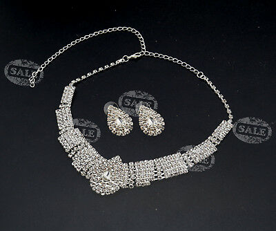 Wedding Party Bridal White Diamante Crystal Necklace Earrings Jewelry Set