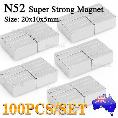 Up to 100 Rare Earth Strong Magnet Block Solid Neodymium N52 20 x 10 x 5mm