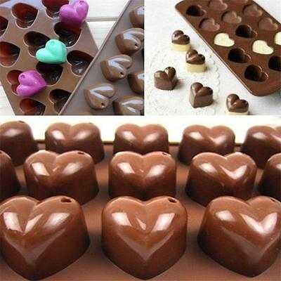 15 In 1 Heart Silicone Chocolate Cookie Muffin Cake Ice Jelly Baking Mould YI