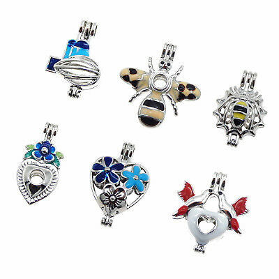 6pcs Pack Mixed Color Enamel Plated Alloy DY Jewelry Pearl Cage Locket Pendants