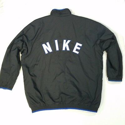 Vintage 90 s Nike Men s Black Blue Big Spell Out Logo Ski Jacket Coat Sz XL 08490f69e