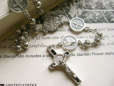 Rose beads  St.Benedict  Rosary & Italy Crucifix Cross medal catholic necklace