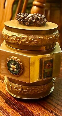 Antique Chinese Sterling Silver and Bronze Six Panel Tea Caddy With Medallions