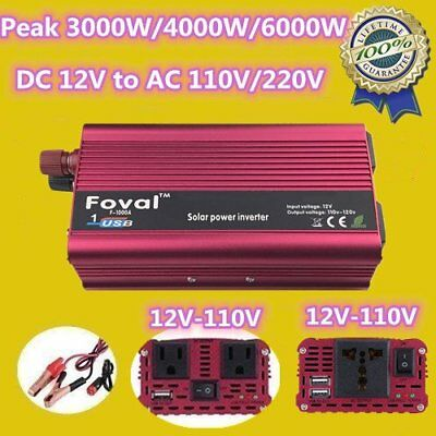 3000W/4000W/6000W WATT Peak Car Power Inverter 12V DC 110V/220V AC Converter