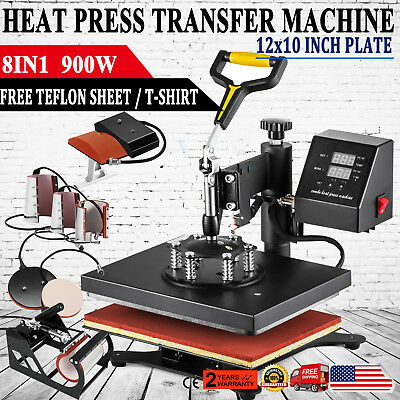 8 In 1 Digital Heat Press Machine Sublimation forT-Shirt /Mug/Plate Hat Printer
