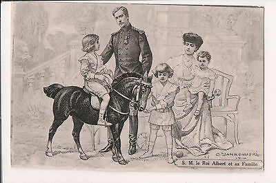 Vintage Postcard King Albert I & Queen Elisabeth of Belgium & Family