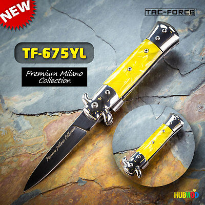 TAC-FORCE Spring Assisted Folding Pocket Knife Milano Stiletto Tactical Yellow