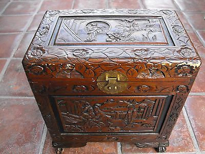 Antique Wood Carved Chinese Camphor Chest Box Approx. 18X17X11