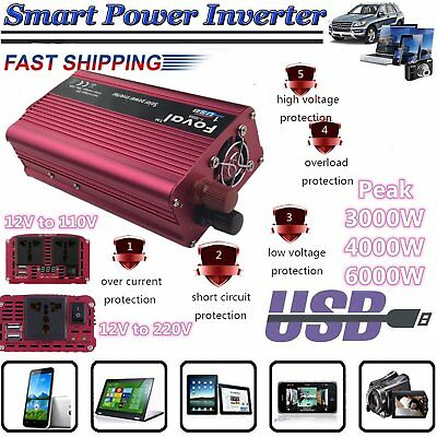 3000W/4000W/6000W WATT Peak Car Power Inverter 12V DC 110V/220V AC Converter ER