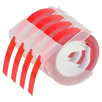 Compatible for DYMO 3D Embossing Label Tape Organizer Xpress White on Red 4pk