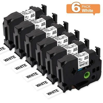 Black on White Label Tapes Compatible for Brother P-Touch TZ241 TZe-241 18mm 6PK