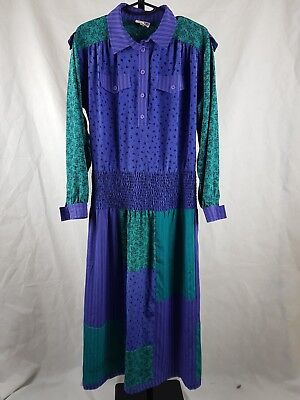 Sally Browne 12 Vintage Dress 80s 1980s Maxi Patchwork Festival purple green