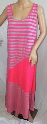 Magic Women Plus Size 1x 2x 3x Fuchsia Gray Striped Maxi T Shirt Summer Dress