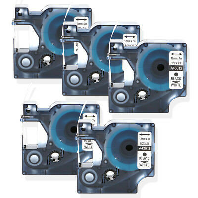 5PK Compatible for DYMO D1 45013 12mm Label Tapes Black Print on White LW450
