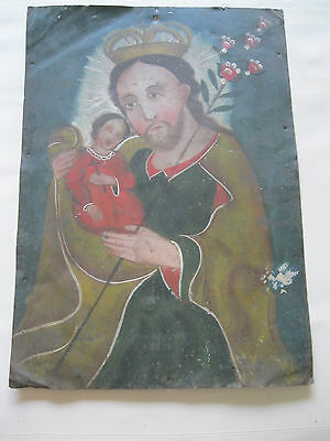 Antique Original Retablo On Tin With Image Of Saint Josrph And Crist Child