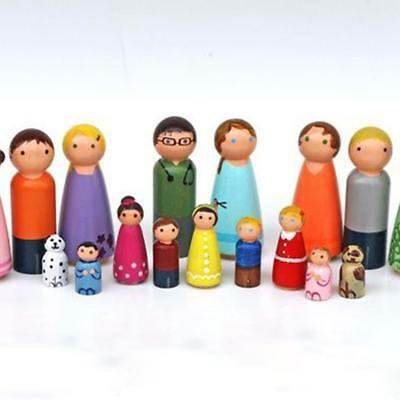 DIY Family of 5 Wood Peg Dolls Wooden Unpainted Figures Mini People  Craft Toy