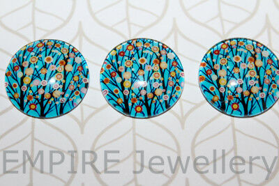 3 x Floral Branches on Blue 20x20mm Glass Dome Cabochon Cameo Flower Tree
