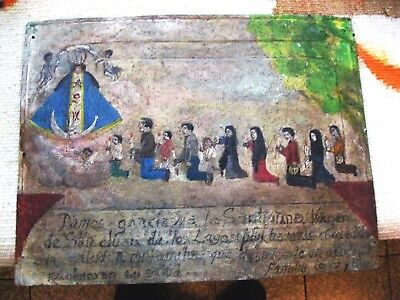Original Antique Retablo/exvoto Family Thanking Our Lady De San Juan De Los Lago