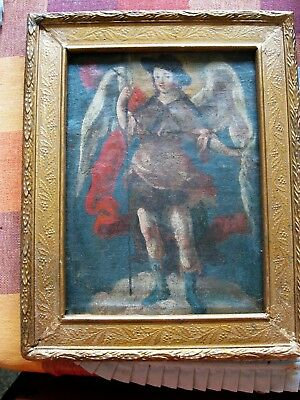 Original Antique Retablo On Canvas Archangel Gabriel With Antique  Frame