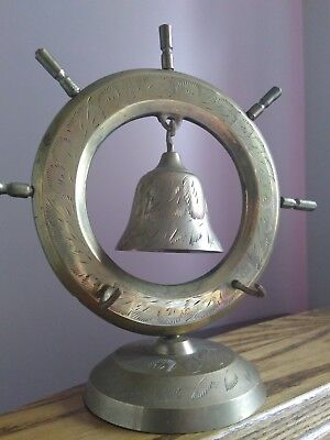 """Vintage Brass Nautical Ship Wheel Chime Dinner  Bell  Gong India 8"""""""