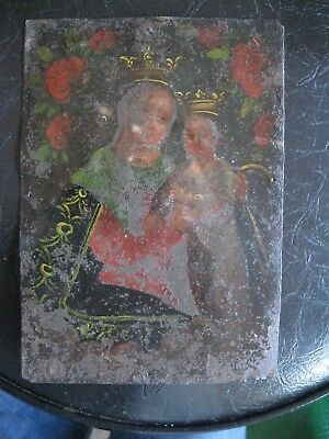 Antique Original Retablo On Tin Our Lady Of Refuge