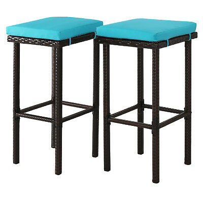 2 Pcs Wicker Barstool Set High Chairs Square Stool Outdoor Patio Pool W/ Cushion