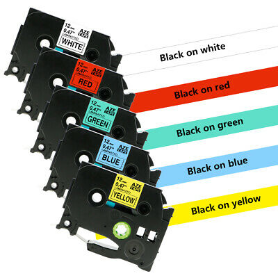 5 PK Compatible Brother p touch label tape TZe 231 TZ 431 531 631 731 12mm white