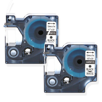 """2PK Black on White Label Tape Compatible for DYMO 45013 12mm 1/2"""" D1 S0720530"""