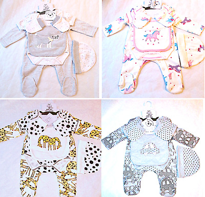 Baby Babygrow Playsuits Sleepsuits Bodysuit Bib Hat Mitt 5 Pce Layette Gift Sets