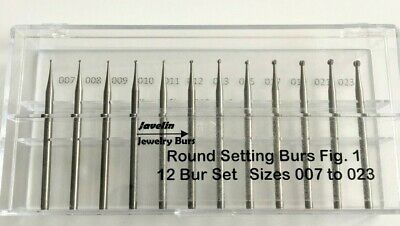 Jewelry Round-Ball Bur Set, 12 Pcs 007 To 023, Fig 1, Quality Burs For Jewelers